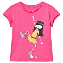 Little Marc Jacobs Pink Miss Marc Rollerskating Print Tee 46C