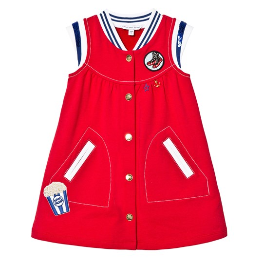 Little Marc Jacobs Red Glitter and Badge Dress 97S