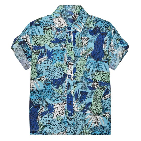Little Marc Jacobs Blue Jungle and Leopard Print Shirt V76