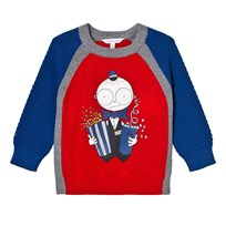 Little Marc Jacobs Red and Blue Mr Marc Usher Print Jumper X58