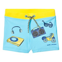 The Marc Jacobs Blue Printed Icon Swim Trunks SPF 50