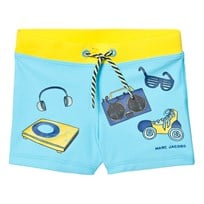 Little Marc Jacobs Blue Printed Icon Swim Trunks SPF 50 T48