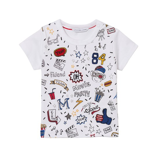 Little Marc Jacobs White All Over Print Icon Tee 10B