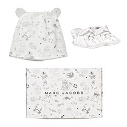 The Marc Jacobs Booties and Hat Set White and Black Walrus Print