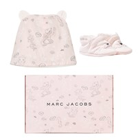 Little Marc Jacobs Booties and Hat Set Pink Cat Print 45B