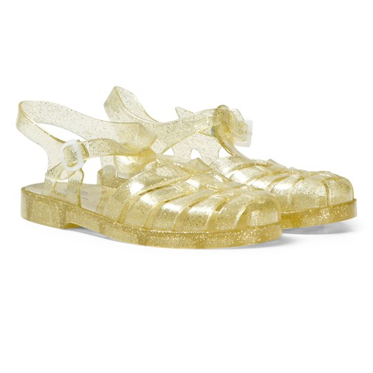The Marc Jacobs Gold Glitter Jelly Sandals Z98