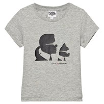 Karl Lagerfeld Kids Grey Karl and Choupette Print Tee (MINI ME) A34
