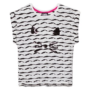 Image of Karl Lagerfeld Kids Black and White Glitter Choupette Tee 5 years (2743730311)