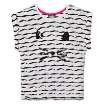 Karl Lagerfeld Kids Black and White Glitter Choupette Tee Z40