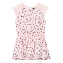 Karl Lagerfeld Kids Pink Icon Print Cap Sleeve Drop Waist Dress Z40