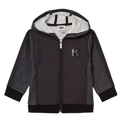 Karl Lagerfeld Kids Charcoal Marl and Black Branded Hoody