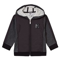 Karl Lagerfeld Kids Charcoal Marl and Black Branded Hoody M60