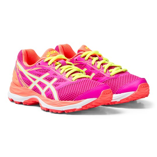 Asics Pink Gel-Cumulus 18 Junior Trainers PINK GLOW/WHITE/FLASH CORAL