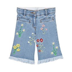 Stella McCartney Kids May Denim Culottes Embroidered Flowers