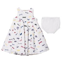 Stella McCartney Kids White Flossie Dress with Embroidered Names 9085