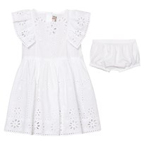 Stella McCartney Kids Sundae Klänning Embroidered Anglaise med Mamelucker Vit 9082