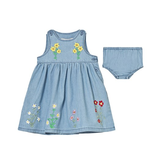 Stella McCartney Kids Posie Chambray Dress with Embroidered Flowers 4161