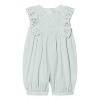 Stella McCartney Kids Green Romper with Embroidered Anglaise 3564