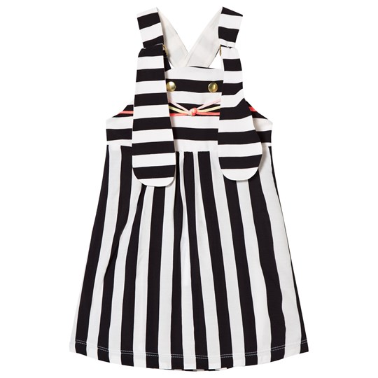 Wauw Capow Ninka Pinafore Dress Stripe Bunny Black/White Black and White