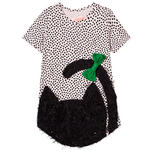 Wauw Capow Sparkly Cool Cat Detail Tee Dress Vit/Rosa Black and White