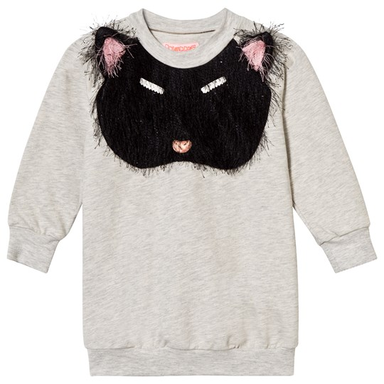 BANGBANG Copenhagen Pixie Bob Sweat Dress Fluffy Cat Applique Grey Melange Sort