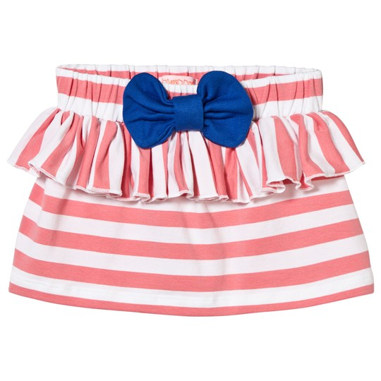 Wauw Capow Stripe Ruffle and Bow Skirt Pink Pink