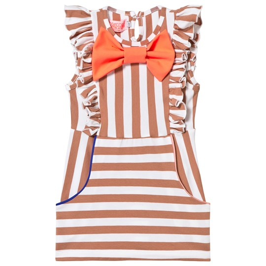 Wauw Capow Chelsea Frill Front and Bow Dress Brown Stripe BROWN