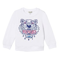 Kenzo White Embroidered Tiger Sweatshirt 01