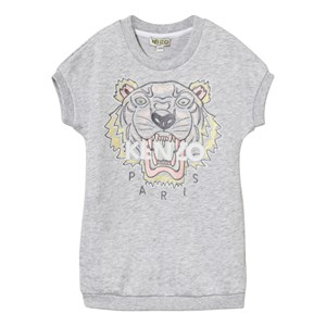 Image of Kenzo Grey Tiger Print Sweatshirt Dress GreyEmbroidered Sweat Dress 3 years (2743811069)