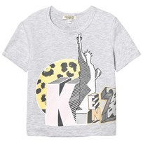 Kenzo Grey Statue of Liberty and Tiger Print Tee 294