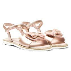 Mayoral Rose Gold Bow Detail Velcro Sandals
