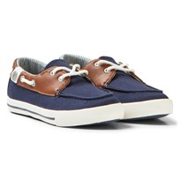 Mayoral Navy and Brown Canvas Deck Shoes 40