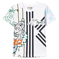 Kenzo Branded Tiger Print Tee White 01
