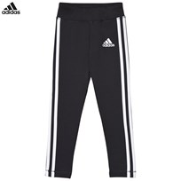 adidas Black Branded 3 Stripe Leggings Black