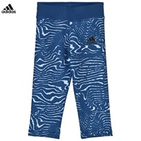 adidas Blue Patterned Capri Leggings MYSTERY BLUE