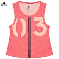 adidas Hot Pink Number Graphic Training Tank CORE PINK