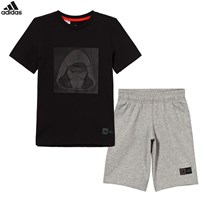 adidas Black and Grey Star Wars Shorts and Tee Set Black