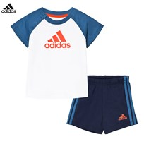 adidas White and Navy Branded Shorts and Tee Set White