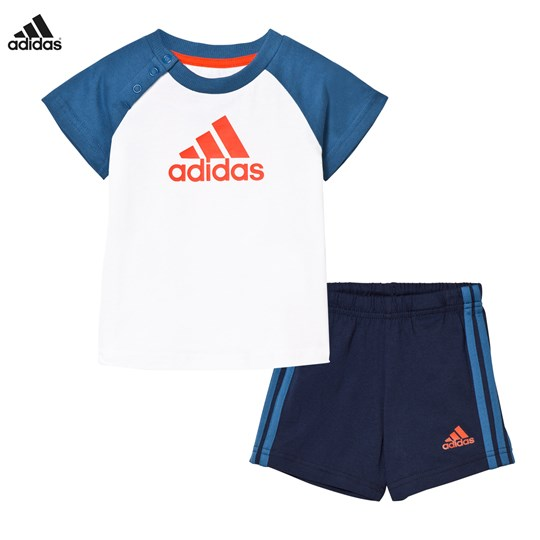 adidas Performance White and Navy Branded Shorts and Tee Set White