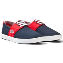 Lacoste Navy and Red Fairchampe Lace up Trainers 144