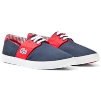 Lacoste Navy and Red Fairchampe Lace up Junior Canvas Trainers 144