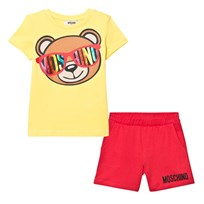 Moschino Kid-Teen Bear Print T-shirt och Shorts Set Gul 50797