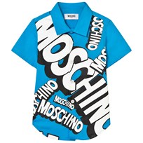 Moschino Kid-Teen Blue Branded Shirt 40437