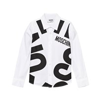 Moschino Kid-Teen White All Over Branded Shirt 10101