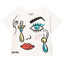 Moschino Kid-Teen White Face Print Tee Mini Me 10063