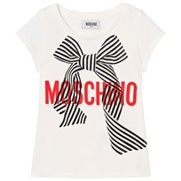 Moschino Kid-Teen White Branded Bow Tee 10063