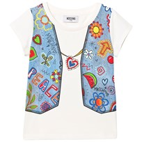 Moschino Kid-Teen White Denim Waistcoat Trompe L´Oeil Tee 10063