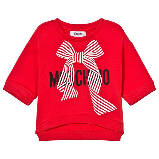 Moschino Kid-Teen Red Branded Bow Cropped Sweatshirt 50109