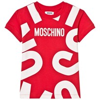 Moschino Kid-Teen Red All Over Branded Tee Dress 50109