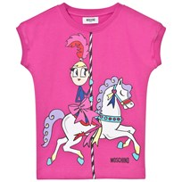 Moschino Kid-Teen Carousel Print Sweat Klänning Fuchsia 50018